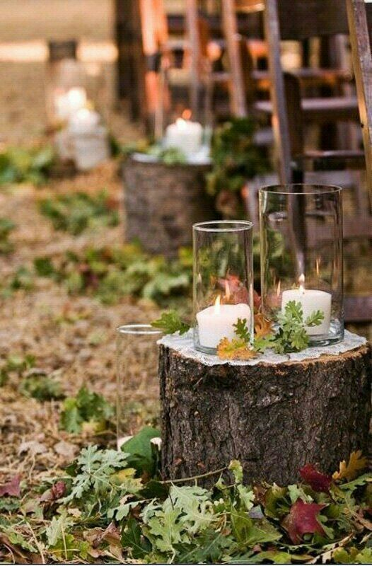 93 best candlelit weddings entertaining and home decor images rustic woodsy wedding aisle decor tree stumps and candles with foliage junglespirit Images