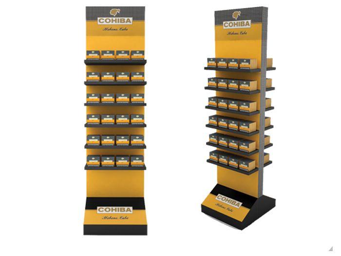 Expositores de suelo o floor stands: Contienen gran cantidad de producto y se utilizan especialmente para productos de compra por impulso.