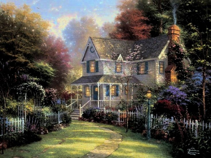 144 best thomas kinkade painting art images on pinterest for Cottage anglais
