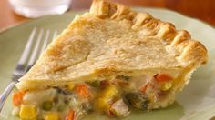 * EASY CHICKEN POT PIE 1 (10 oz.) can Campbell's Cream of Chicken Soup 1 1/2 cups frozen mixed vegetables,1 1/2 cups cubed, cooked chicken, 3/4 cup chicken broth combined with 3 tablespoons flour 2 pie crusts Preheat oven to 400°F. Mix everything. Put mixture into the bottom pie shell. Cover with the top pie crust and crimp to seal. Slice a few vent holes in the top. Bake 40 minutes or until golden. Cover pie edge with aluminum foil or a pie shield if it begins to brown too quickly.
