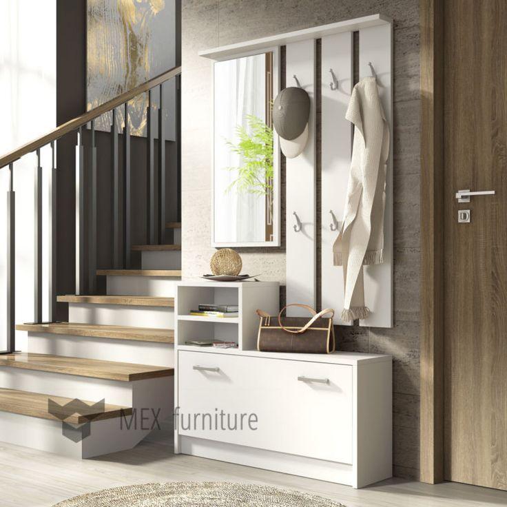 Modern Hallway Set with mirror, storage bench, hanger shoe cabinet