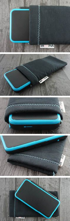 Black / Blue Nintendo 3DS, 3DS XL, New 3DS, New 3DS XL, New 2DS XL Fabric Pouch Case