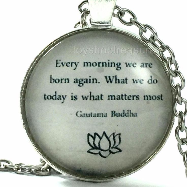 New Quote Inspirational Necklace Every Morning We R Born Again - Buddha Silver f