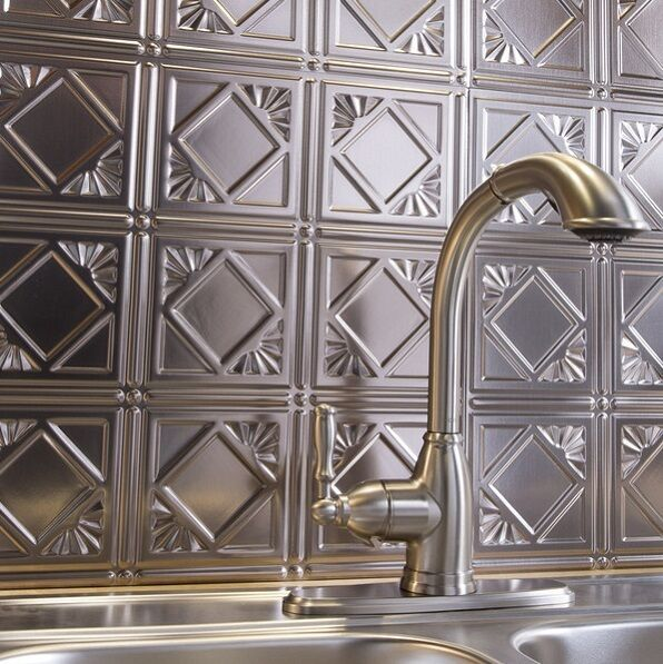 Kitchen Backsplash Silver Decorative Vinyl Panel Wall Tiles Bathroom Metal Tin 604678535866 Ebay Backsplash Panels Metal Wall Panel Backsplash