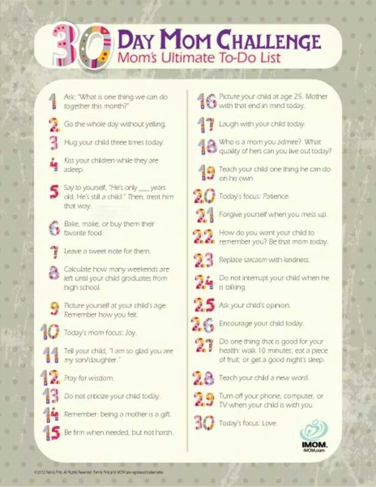 30 Day Mom (not so challenging) Challenge.