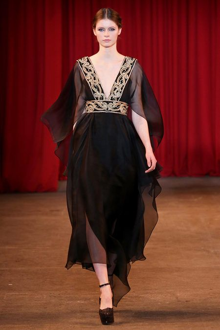 Christian Siriano Fall/Winter 2013 Collection: inspired by Late Middle Age v neck roc gowns