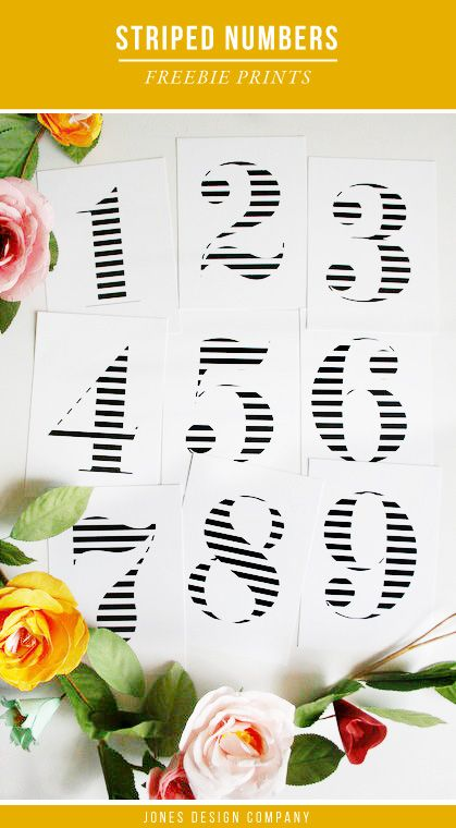 Free Striped Number art prints / jones design company