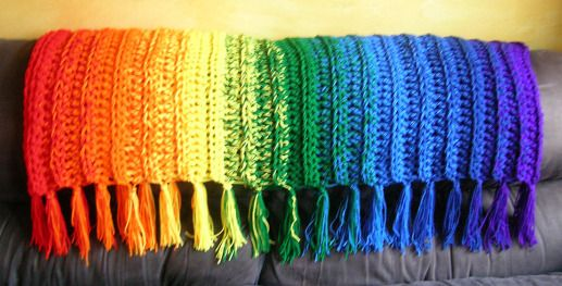 Somewhere Over the Rainbow ~ Free Pattern  made with 3 strands held together and an S hook
