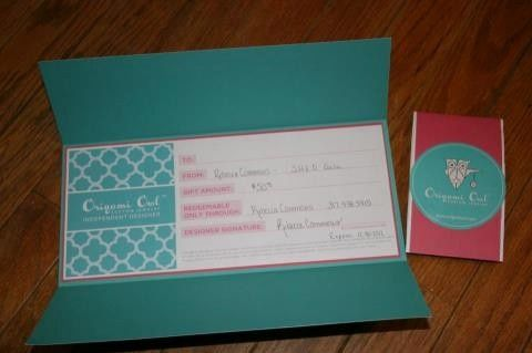 Cute packaging idea for gift certificates. IM me to order yours ...