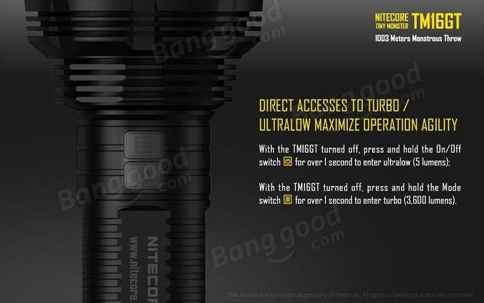 Nitecore TM16GT 4x Xp-l Hi V3 3600LM LED Flashlight To 1003M