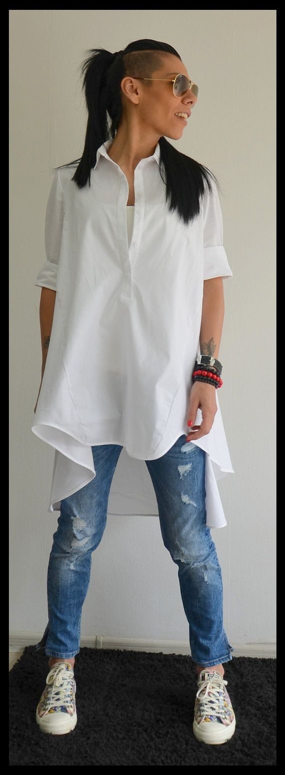 Maxi white top / Loose shirt / Extravagant Asymmetric shirt /