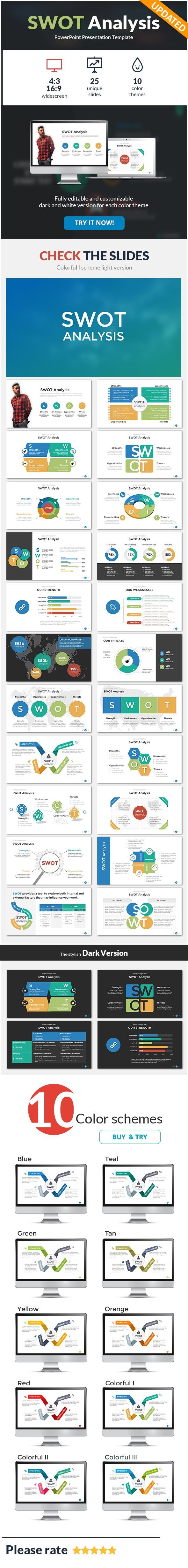 SWOT Analysis PowerPoint Template - #PowerPoint Templates Presentation #Templates Download here:  https://graphicriver.net/item/swot-analysis-powerpoint-template/15921175?ref=alena994