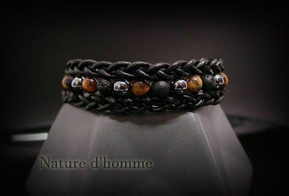 bracelet cuir et pierre homme
