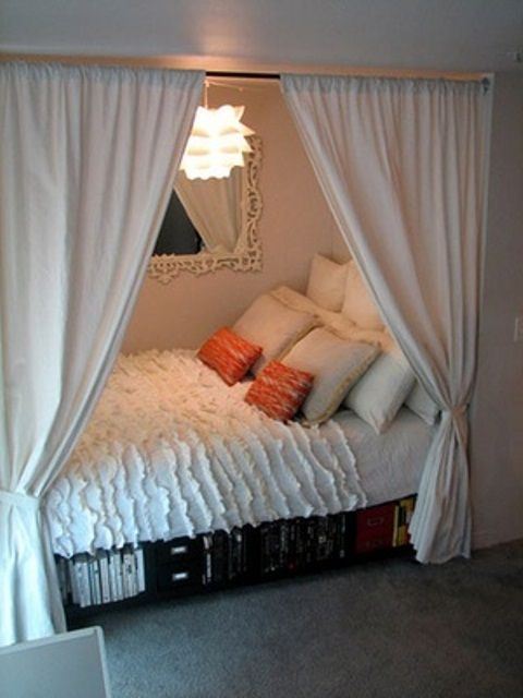 Having a small bedroom give us no choice, but to be creative and smart using the most of every space. I love it so cozy and romantic!