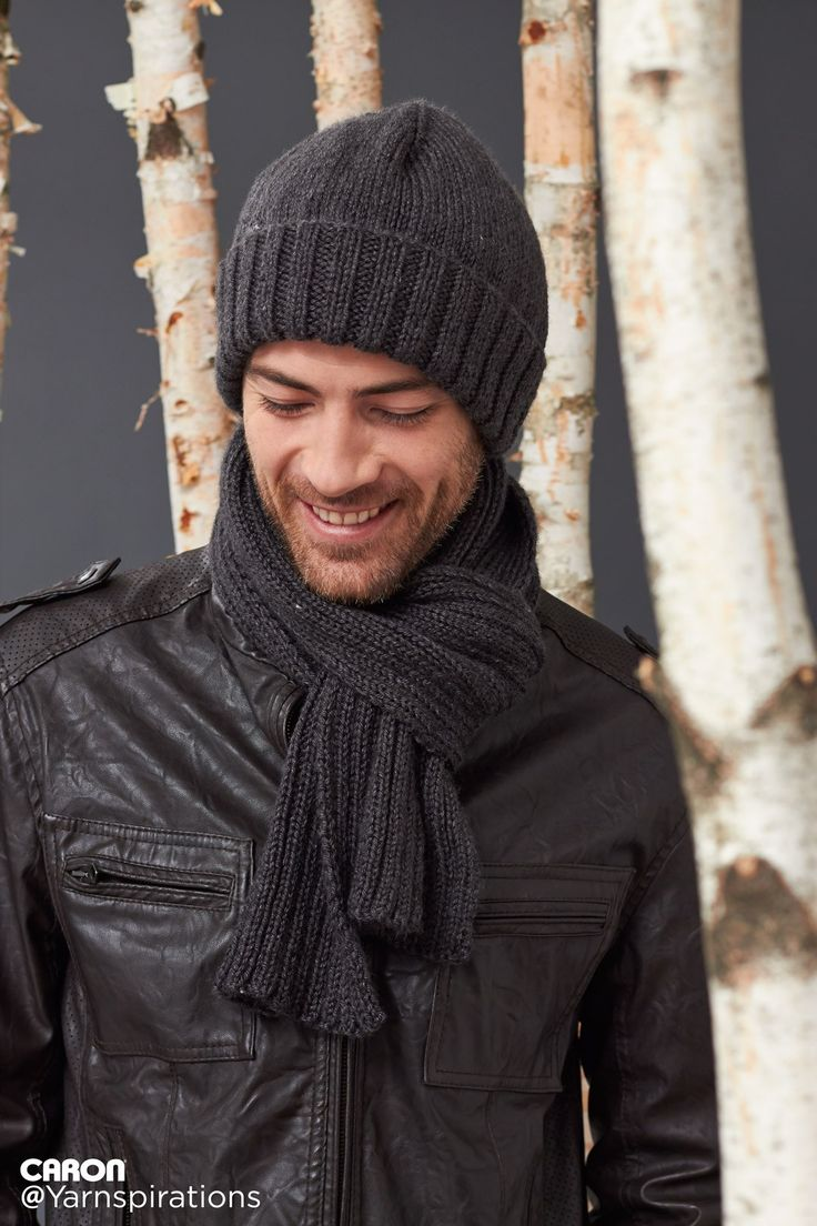 Men's Basic Hat and Scarf Set – Gifts for Him – Patterns | Yarnspirations