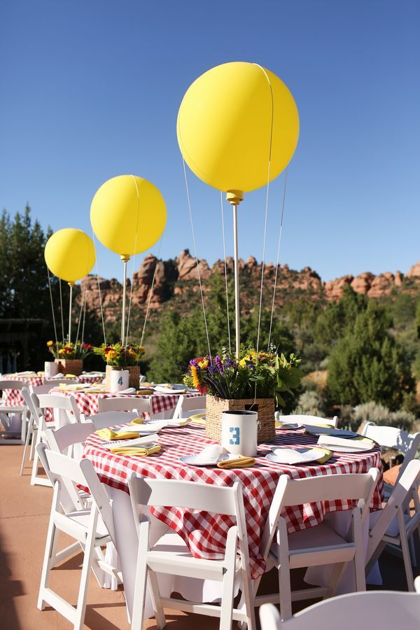 Love this bold red and yellow colour palette against the bright blue sky! #wedding #decor #weddingtables Real Wedding // A Carnival Of Colours In The Desert // Photographer - Gideon Photography.