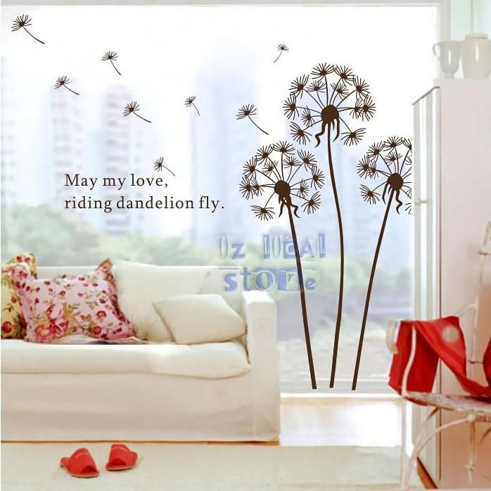 Diy Wall Art Stickers Brown Dandelion Quote Vinyl Decals Room Decor Removable Hq