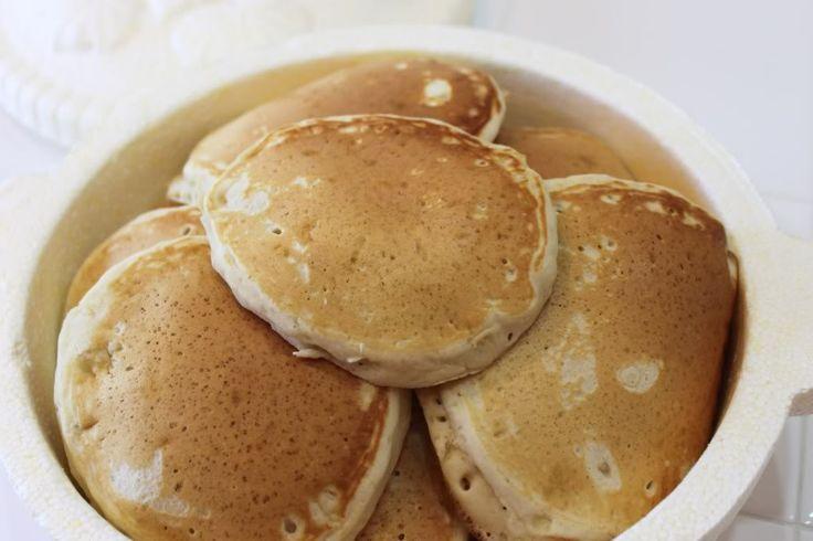 Fluffy pancakes psssst keep em warm in a tortilla warmer--try it sweet and goooooood