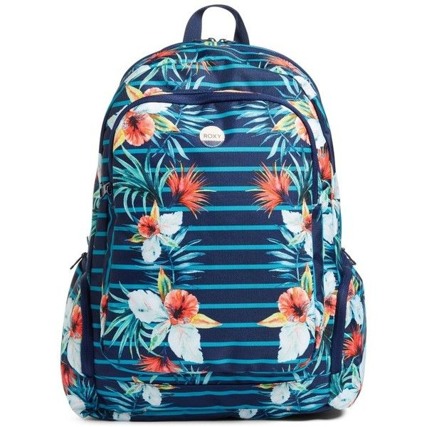 Women's Roxy Alright Print Backpack (£32) ❤ liked on Polyvore featuring bags, backpacks, exotic lines combo marine, patterned backpacks, padded bag, padded backpack, day pack backpack and roxy rucksack
