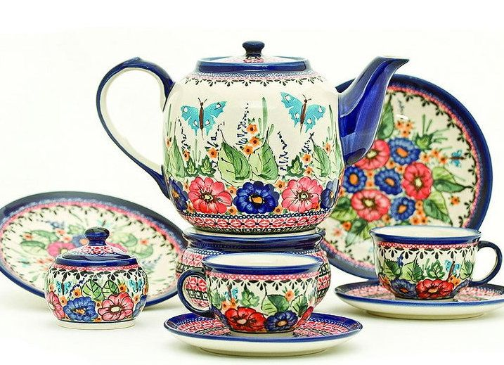 Tea set with butterflies made by Zakłady Ceramiczne Polish pottery. Click to enlarge  sc 1 st  Pinterest & 599 best Polish Pottery images on Pinterest | Polish pottery ...
