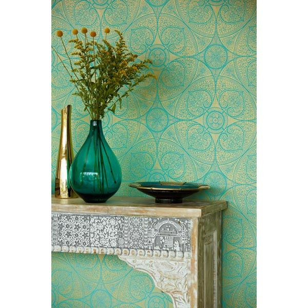 A beautiful henna inspired wallpaper design glistens in a gold and turquoise color palette - 341752 Teal Mehndi Medallion - Yasamin - Yasmin Wallpaper by Eijffinger