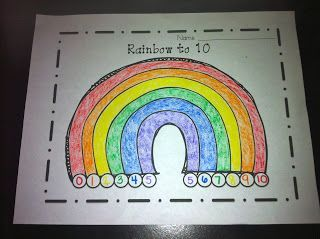Using a rainbow to show all the ways to make 10.  Super fun and perfect academic concept for the spring!