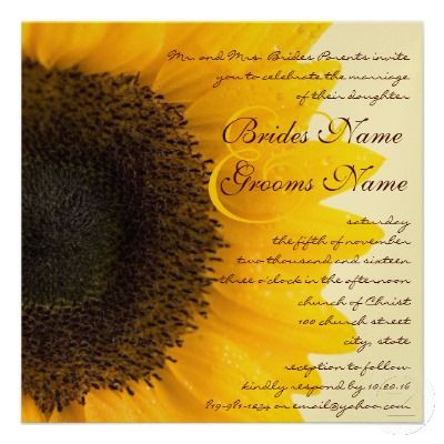 #sunflower wedding invitations ... Wedding ideas for brides, grooms, parents & planners ... https://itunes.apple.com/us/app/the-gold-wedding-planner/id498112599?ls=1=8 … plus how to organise an entire wedding, without overspending ♥ The Gold Wedding Planner iPhone App ♥ http://pinterest.com/groomsandbrides/boards/