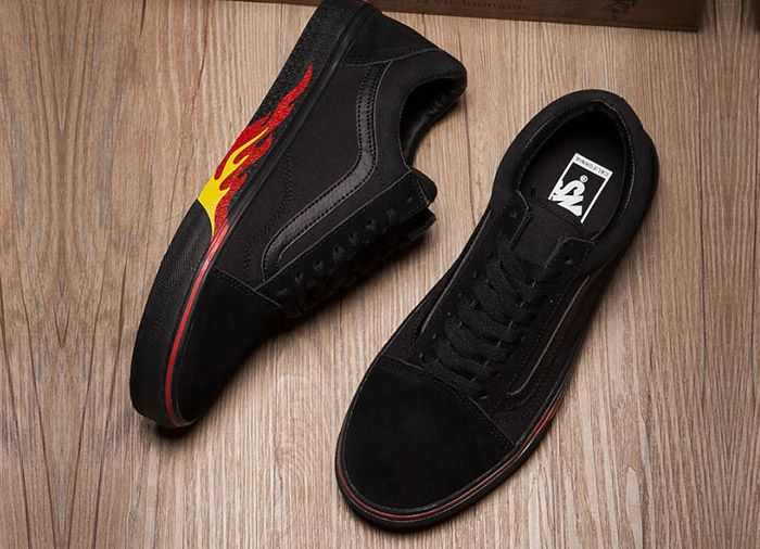 d0876213658 Full Black Vans x Thrasher Old Skool Fire Flame Skate Shoes  Vans Australia