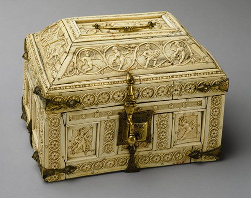 """""""Casket with Warriors and Dancers, carved 11th century Byzantine; Probably made in Constantinople. Bone, copper gilt """" & """"Classical literature and classical images were preserved throughout the Byzantine period."""" - however the narration further explained some humor of the figures as they seem to face & react to each other around the sides -- claiming the piece to belong to a private citizen."""
