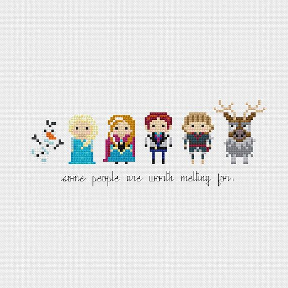 Disney Princess Minis: Frozen (Olaf, Elsa, Anna, Hans, Kristoff, and Sven) inspired cross stitch pattern PDF instant download includes:    Full
