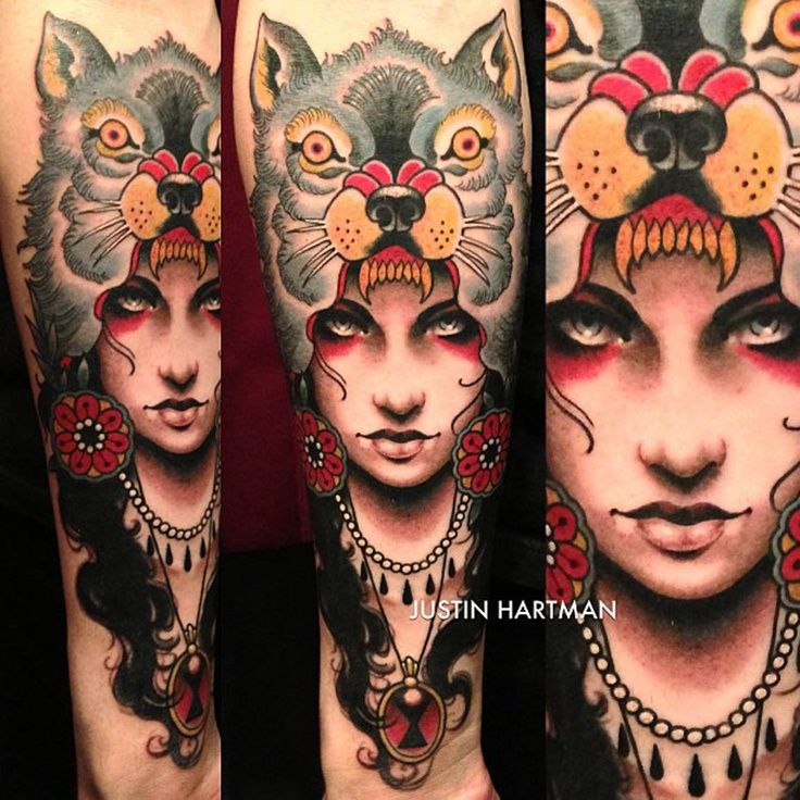wolf girl by justin hartman #tattoos