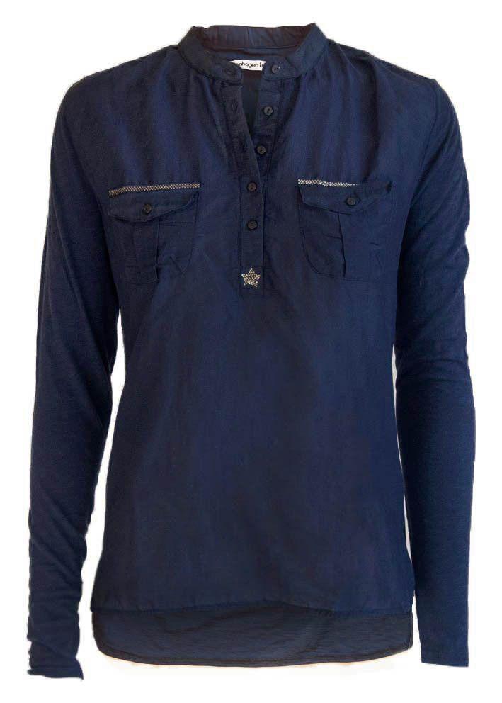 Copenhagen Luxe Skjorte mørkeblå 7344 Silk-Modal Shirt navy – Acorns