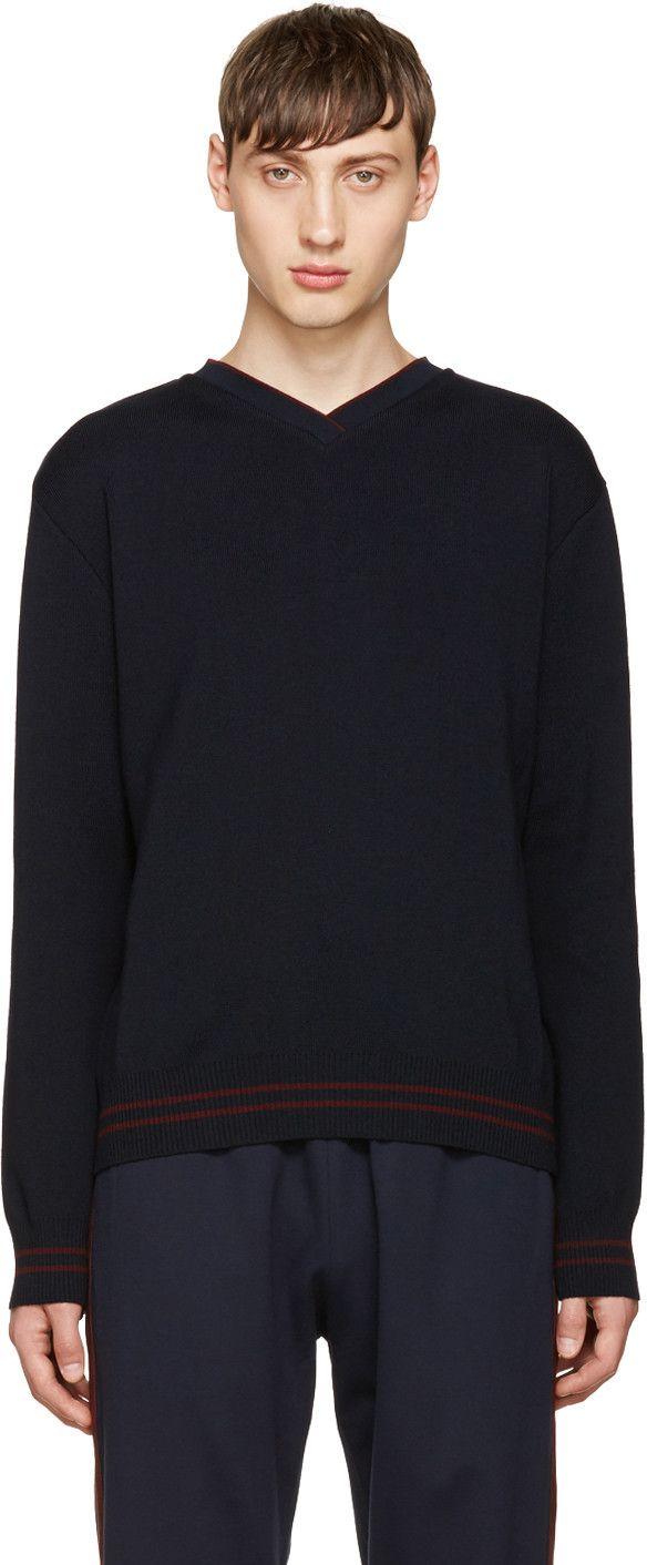 GIULIANO FUJIWARA NAVY MERINO V-NECK SWEATER. #giulianofujiwara #cloth #sweater