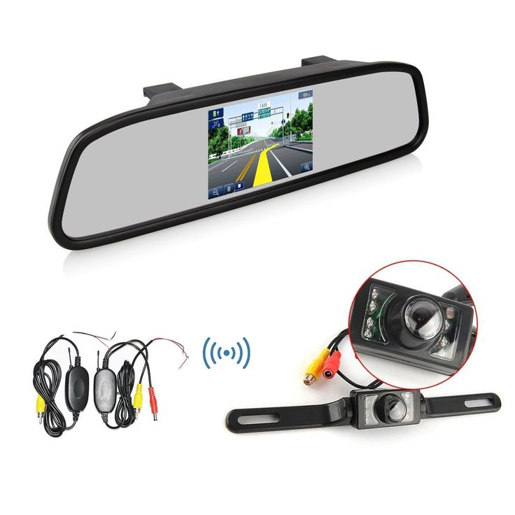Ehotchpotch Wireless Rearview Camera 4.3'' TFT LCD Display Rearview Mirror Monitor with Waterproof Night Vision Rear View Backup Camera Parking Reverse System. 4.3 Inch TFT Car LCD Display Rearview DVD Mirror Monitor Parking Reverse System. 2.4GHz Wireless Camera with Transmitter & Receiver. Best for the safe use of Rear view, high-definition screen, make the image clearer, more vivid colors. Applicable to variety of vehicles: car, mini-truck, mini-van etc. Perfectly solve the issue of…