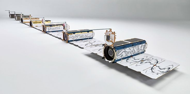 planet labs' satellite space cameras are individually illustrated by artists