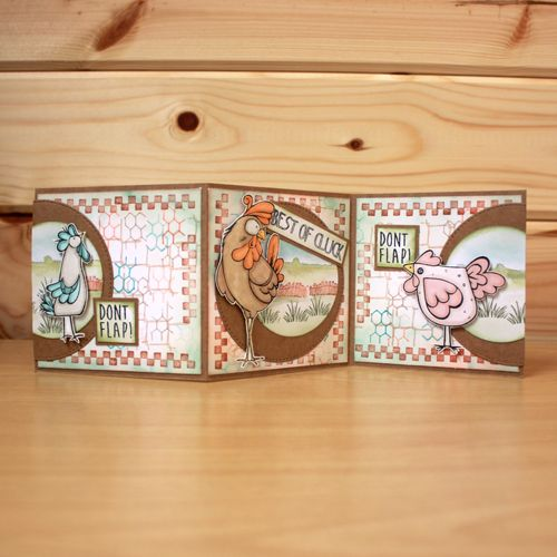CS132D 'Funky Chicken' Clear set contains 11 stamps. Designed by the very talented Sharon Bennett for Hobby Art. Card made by Heidi Green