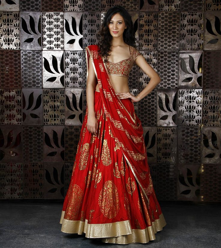 Red Chanderi Silk Lehenga with Foil Print by Rohit Bal