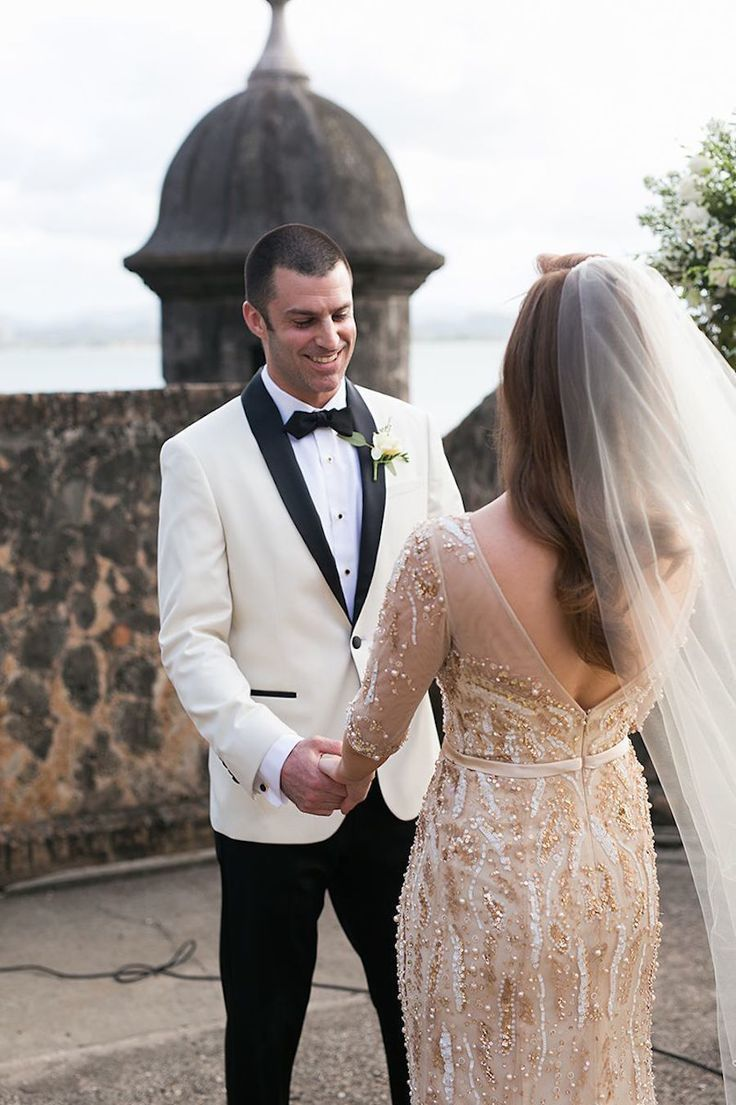 A Gold Beaded Gown Set The Stage For A Glam Puerto Rican Wedding In 2020 Gold Wedding Gowns Beaded Wedding Gowns Royal Wedding Dress