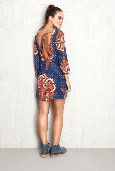 vestido decote costas estampado harmony