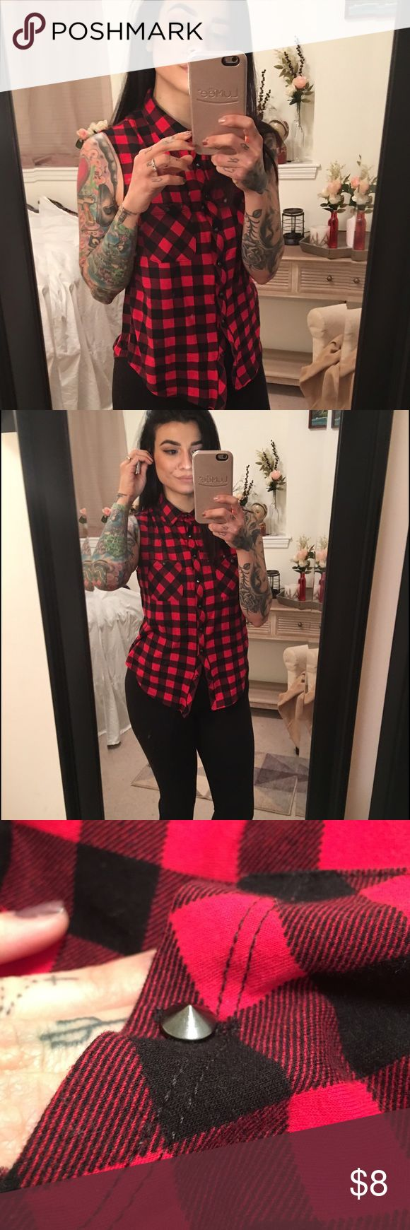 Red plaid cut off shirt Red and black cut off shirt. With STUDDED spike buttons. Size S/M stretchy material. Never worn No Boundaries Tops Muscle Tees
