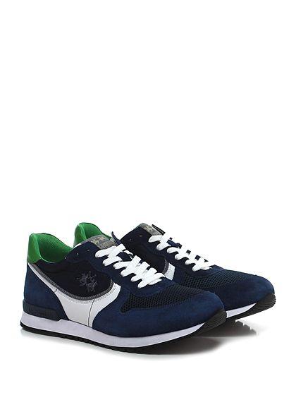 LA MARTINA - Sneakers - Uomo - Sneaker in camoscio, pelle e tessuto tecnico con suola in gomma, tacco 30, platform 20 con battuta 10. - INDACO\BLU - € 149.00