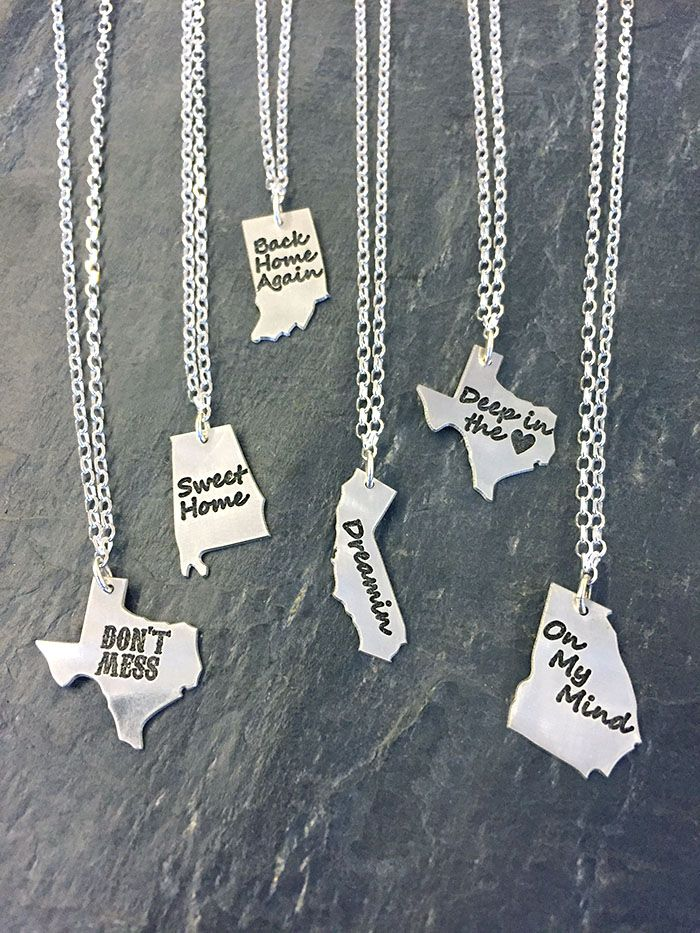 """""""State"""" It On A Necklace -  We now have all 50 states!  You can choose what you would like your state to say.   Sterling silver chain and pendant, lengths available in 16″, 18″, 20″.  The dimension of the pendant is  1″ x 1/2″ in size – depending on state."""