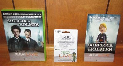 XBOX LIVE 1600 MICROSOFT POINTS SHERLOCK HOLMES PACK FOR GAMES MOVIES TV SHOWS