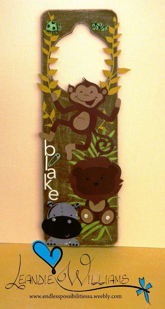 Jungle door hanger. SVG. Paper craft. Paper lion. Paper monkey. Paper hippo. SVG.  Silhouette  www.fb.com/EndlessPossibilitiesSA