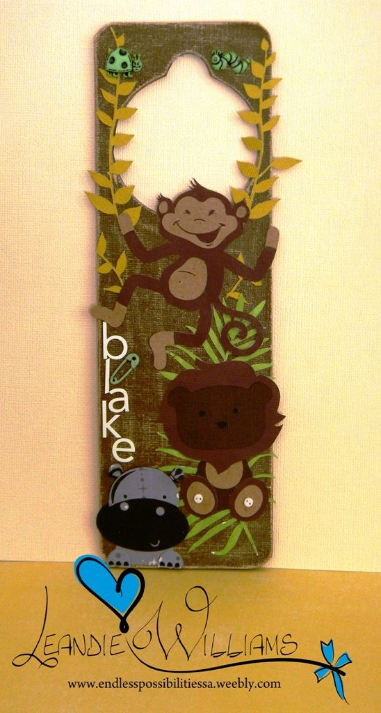 Jungle door hanger. SVG. Paper craft. Paper lion. Paper monkey. Paper hippo. SVG.  Silhouette  www.fb.com/EndlessPossibilitiesSA