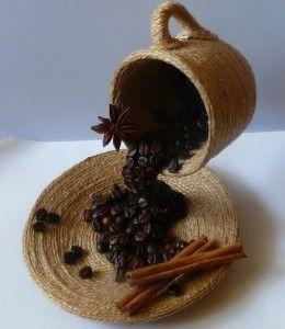 DIY gift idea decor flying coffee cup jute cinnamon coffee beans
