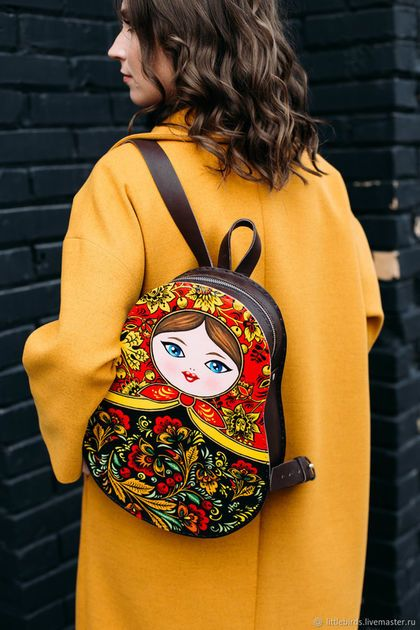 """Buy and order Backpack leather women's """"Matryoshka"""" on Livemaster online shop. Shipped over Russia and the CIS. Production time: <br />. Materials: acrylic paint and varnish, lining…. Dimensions: 35х27х9 cm <br />"""