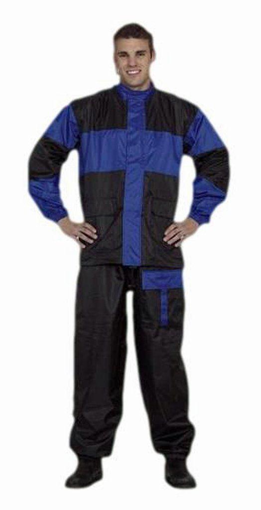 CD D C Mens 2 Piece Blue & Black Biker Motorcycle Rain Suit Gear S to 4XL