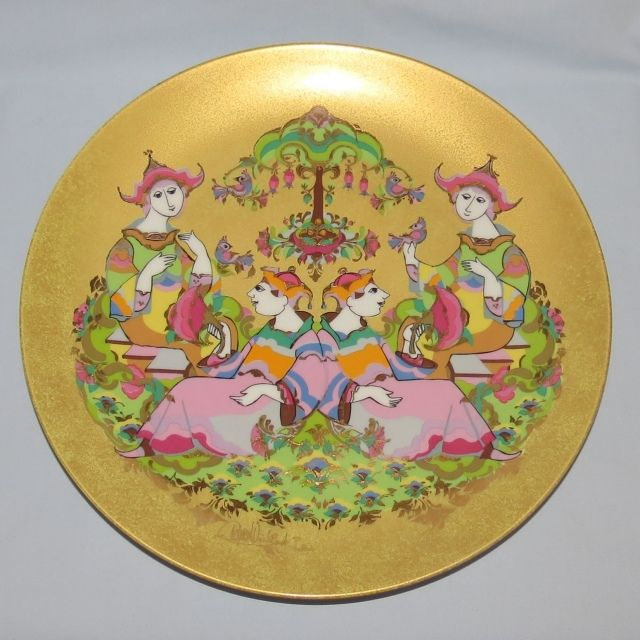 Wall Platter Gold with Two Oriental Couples