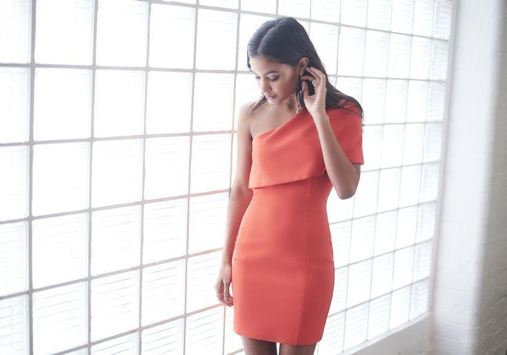One Shoulder Cape Mini Dress